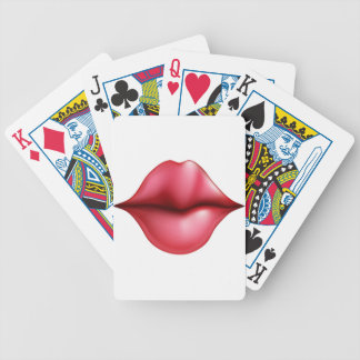 Kissing lips bicycle poker cards