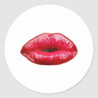 Kissing lips! classic round sticker
