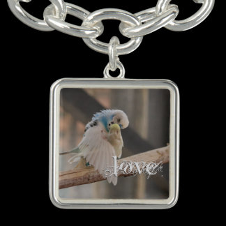 Kissing Love Birds Parakeets Photo Personalized Charm Bracelets
