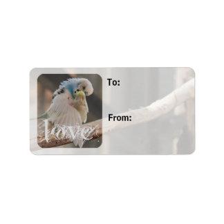 Kissing Love Birds Photo Gift Tags Sheet