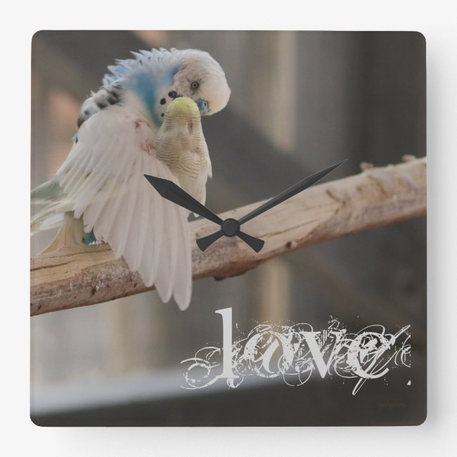 Kissing Love Birds Photo Personalized Clock /