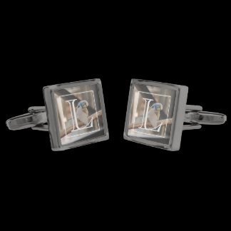 Kissing Love Birds Photo Personalized Cufflinks