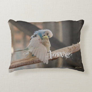 Kissing Love Birds Photo Personalized Custom Accent Pillow