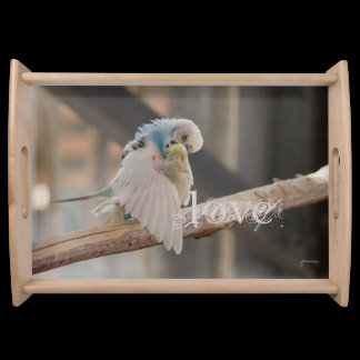 Kissing Love Birds Photo Personalized Custom Serving Tray