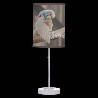 Kissing Love Birds Photo Personalized Custom Table Lamp