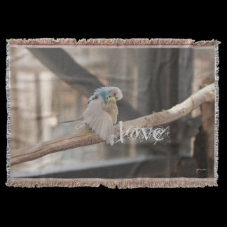 Kissing Love Birds Photo Personalized Custom Throw Blanket