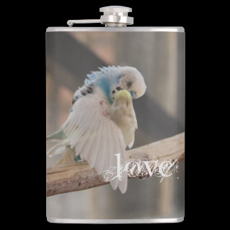 Kissing Love Birds Photo Personalized Hip Flask