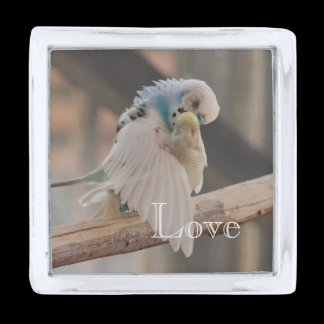 Kissing Love Birds Photo Personalized Peronsalized Silver Finish Lapel Pin