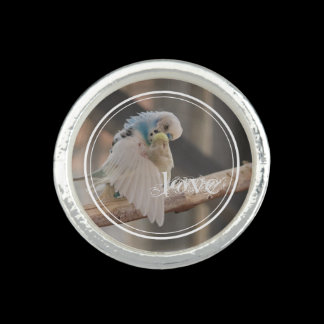 Kissing Love Birds Photo Personalized Ring