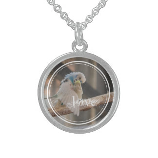 Kissing Love Birds Photo Personalized Round Pendant Necklace