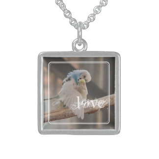 Kissing Love Birds Photo Personalized Square Pendant Necklace