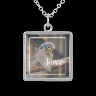 Kissing Love Birds Photo Personalized Sterling Silver Necklace