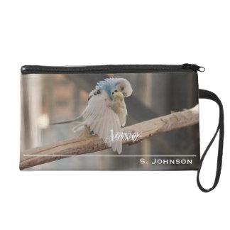 Kissing Love Birds Photo Personalized Wristlet