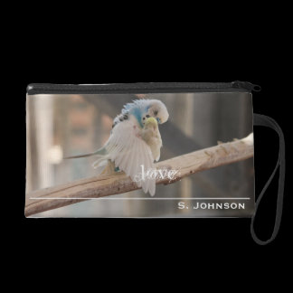 Kissing Love Birds Photo Personalized Wristlet