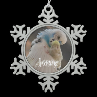 Kissing Love Birds Photo Rearview Mirror Hanger / Snowflake Pewter Christmas Ornament
