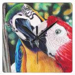 kissing Macaws clock