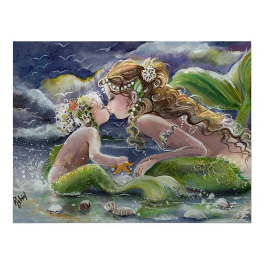 Mermaid Gifts Mermaid Decor Mermaid Art Print Mother S: Kissing Mermaid And Baby Poster