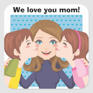 Kissing Mom Square Sticker