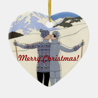 Kissing mountan skiers couple - Merry Christmas! Ceramic Ornament
