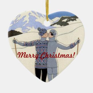 Kissing mountan skiers couple - Merry Christmas! Ceramic Heart Ornament