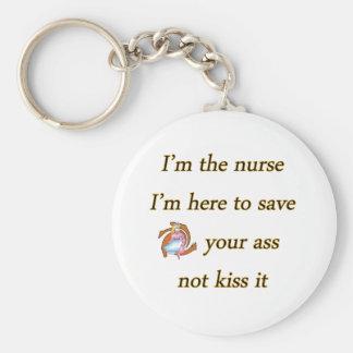 kissing nurse basic round button keychain