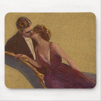Kissing on the Chaise-Longue Valentine Mouse Pad