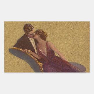 Kissing on the Chaise-Longue Valentine Rectangular Sticker