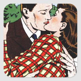 Kissing on the Green Square Stickers