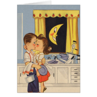 Kissing Over Dishes Card