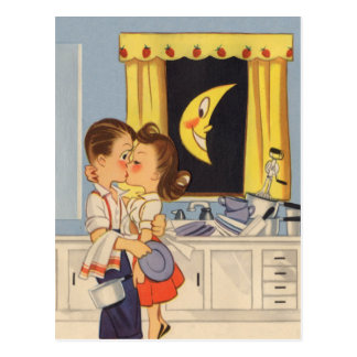 Kissing Over Dishes Postcard
