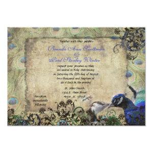 Kissing Peacock Vintage Wedding Invitation 5