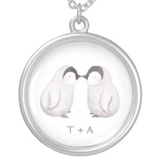 Kissing Penguin Sweet Love Custom Name Necklace at Zazzle