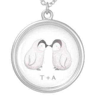 Kissing Penguin Sweet Love Custom Name Necklace
