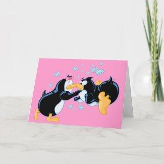 Kissing Penguins Greeting Card card
