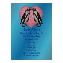 Kissing Penguins Heart Bridal Shower Invite
