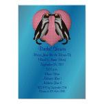 "Kissing Penguins Heart Bridal Shower Invite 5"" X 7"" Invitation Card"