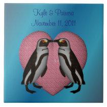 Kissing Penguins Heart Cute Wedding Tile