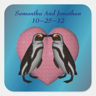 Kissing Penguins Heart Wedding Sticker