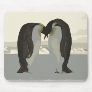 Kissing Penguins Mouse Pad