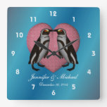Kissing Penguins Pink Heart Wedding Square Wall Clock