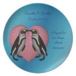 Kissing Penguins Wedding Keepsake Plate