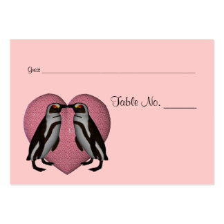 Kissing Penguins Wedding Table Place Cards Business Cards