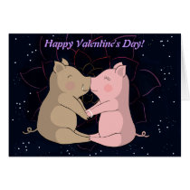 Kissing Piglets, Happy Valentine's Day Card