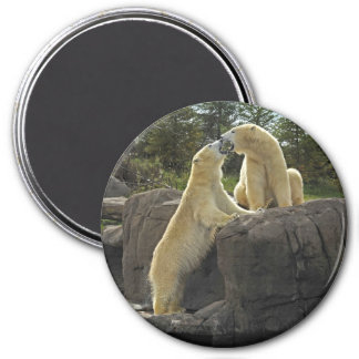 Kissing Polar Bears 3 Inch Round Magnet