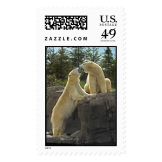 Kissing Polar Bears Postage Stamps