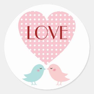 Kissing Pop Birds Love Sticker White