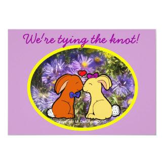 Kissing Rabbits Informal Wedding Custom Invitation