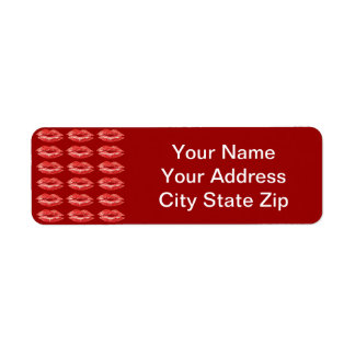Kissing Red Lips Address Labels