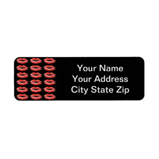 Kissing Red Lips Address Labels on Black