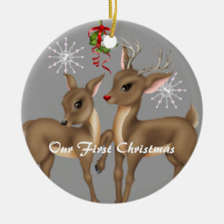 Kissing Reindeer Married Our First Christmas Ornament